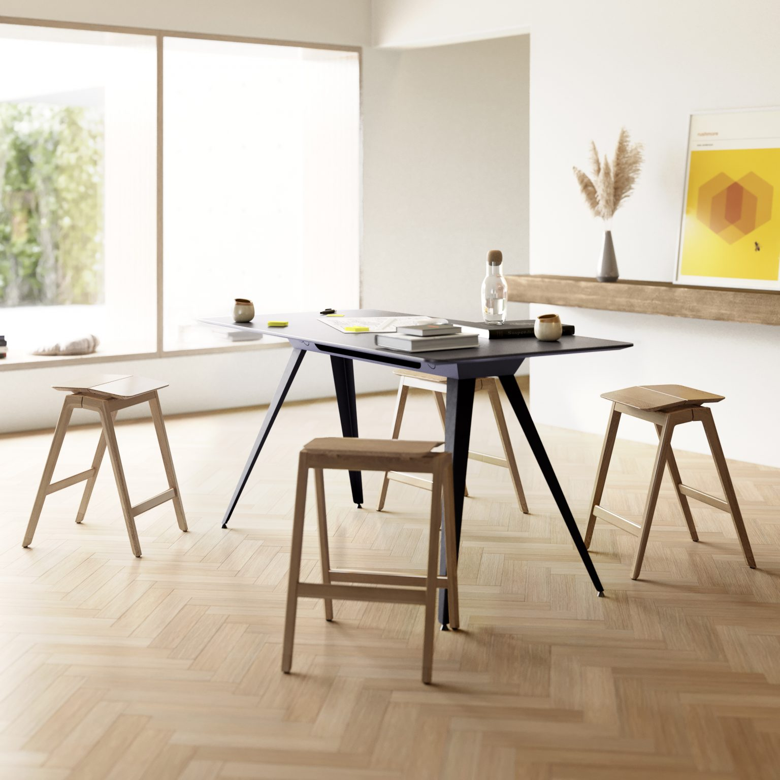 Biennale Interieur - Belgium's leading design and interior event - Knekk-stools-and-table-in-a-creative-workspace-from-fora-form.jpg
