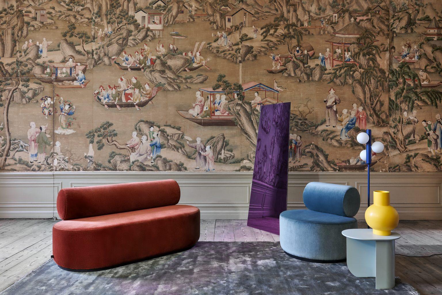Biennale Interieur - Belgium's leading design and interior event - Sinclair_sofa_150_cord_copper_sinclair_lounge_chair_royal_turquoise_plateau_side_table_mint_kaktee_floor_blue.jpg